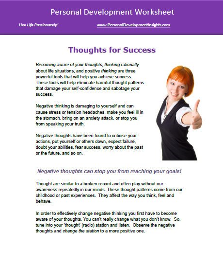 Personal Development Worksheets – FREE -